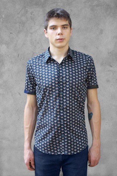 Baïsap - Tailored short sleeve shirts - Scale - Geometric print