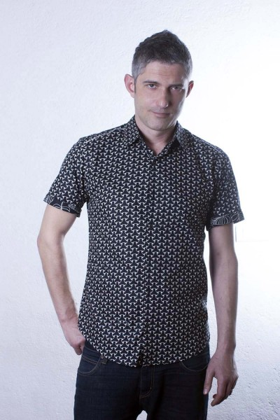 Baïsap - Black and white dress shirt, short sleeve - Mail - Mens patterned shirts, slim fit