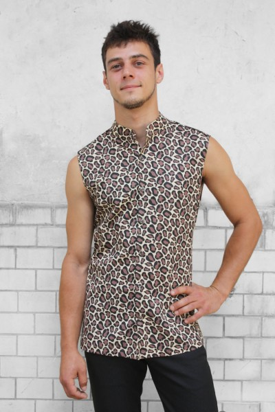 Baïsap - Mens sleeveless shirts - Cheetah - Leopard print shirt - mandarin collar