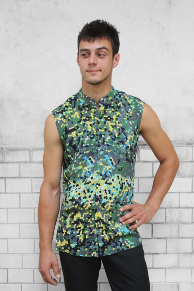 Baïsap - Sleeveless button down shirt mens - Lizard - Mandarin collar shirt - green reptilian pattern