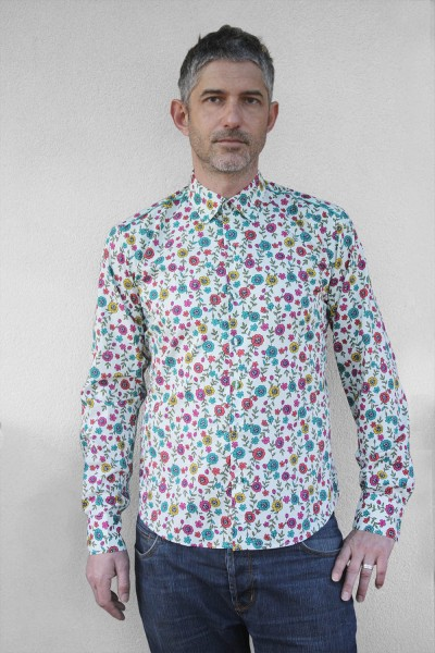 Baïsap - Mens floral dress shirts- Cornflower - Mens floral dress shirts- Cornflower