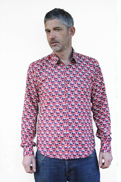 Baïsap - Red white and blue shirts mens - Vintage - Floral button down, long sleeve