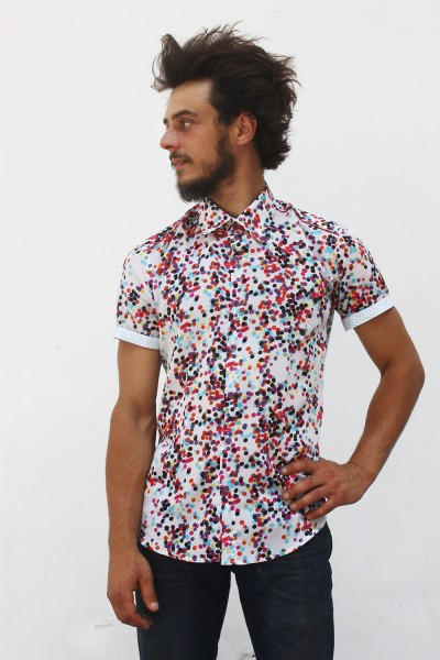 Baïsap - Mens short sleeve polka dot shirt - Confettis - Multi color polka dot shirt, cotton voile