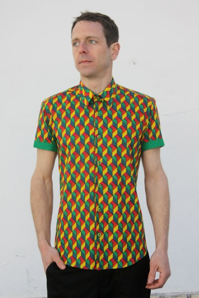 Baïsap - Harlequin shirt, short sleeve - Mens patterned shirts, light cotton