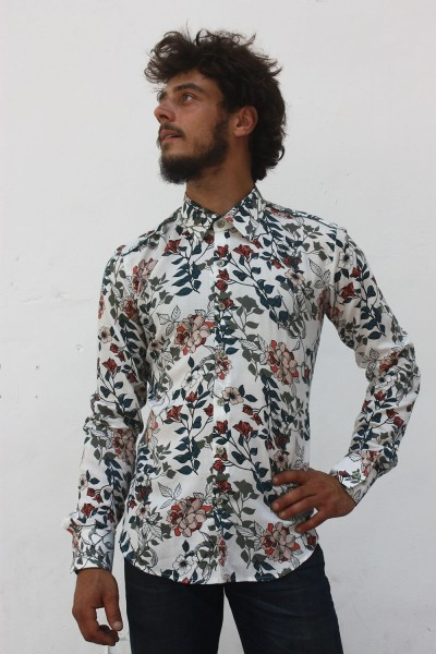 Baïsap - Mens floral dress shirts - Lily - Floral print on off-white light viscose