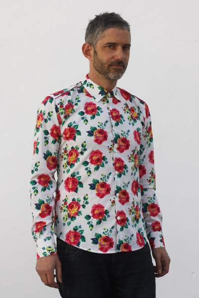 Baïsap - Roses button up shirt for men - Roses print on white light cotton cambric
