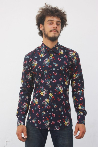 Baïsap - Navy blue floral shirt - Navy flowers - Floral pattern on navy cotton