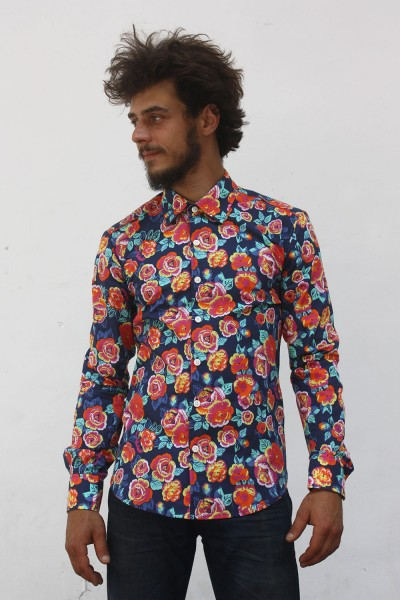 Baïsap - Blue floral shirt - Peony - Big floral pattern on dark blue background