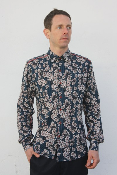 Baïsap - Cherry blossom shirt - Blue Blossom - Blue floral shirt for men, light cotton