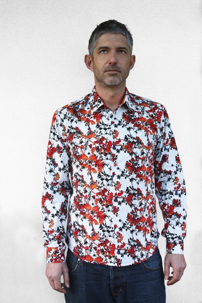 Baïsap - Printed shirts - Autumn - Bright abstract print on white cotton