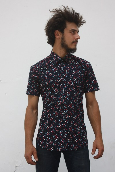 Baïsap - Liberty shirts, short sleeve - Small flowers pattern on marine blue background