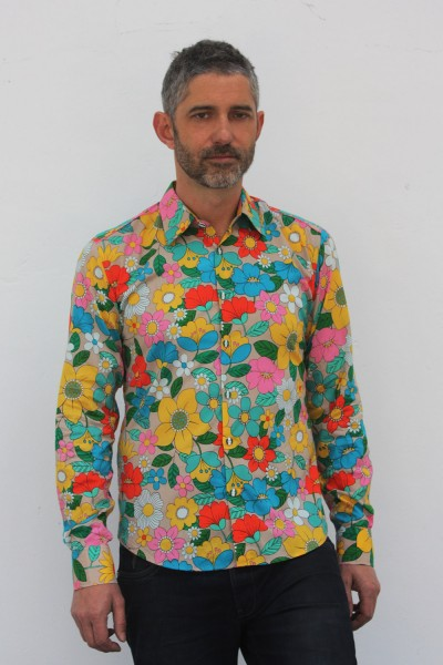 Baïsap - Mens floral shirts long sleeve - Parasol - Multicolored retro floral pattern on light cotton