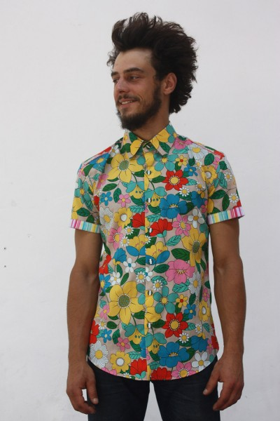 Baïsap - Floral short sleeve button down - Parasol - Multicolored retro floral pattern on light cotton