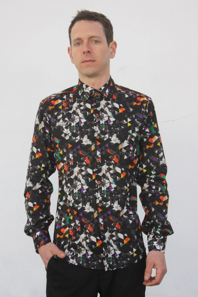 Baïsap - Triangle pattern shirt - Dark Triangles - Graphic button up shirts, light cotton