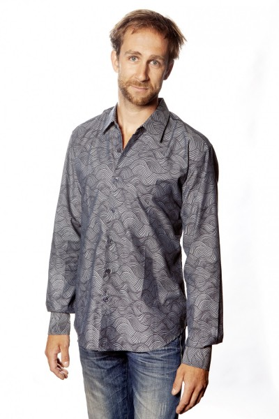 Baïsap - Chambray shirt - Waves - Printed blue shirt for men