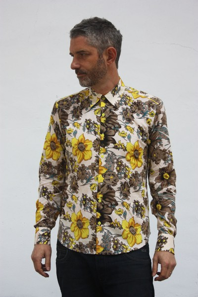 Baïsap - Yellow floral shirt - Buttercup - Kitsch floral shirt, light cotton cambric