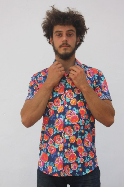 Baïsap - Vintage short sleeve shirts - Peony - Big floral pattern on dark blue background