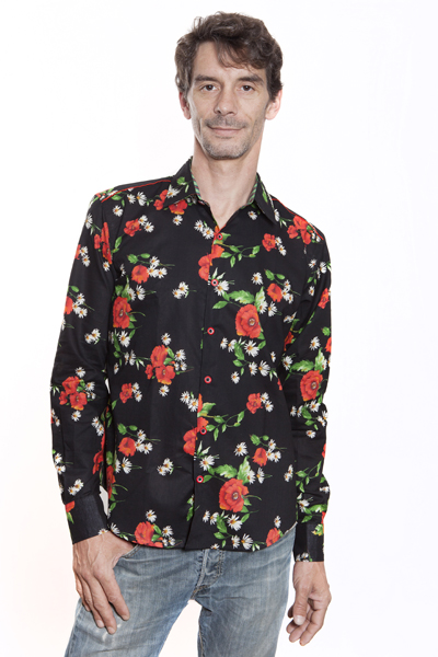 Baïsap - Poppies shirt for men - Red floral shirt