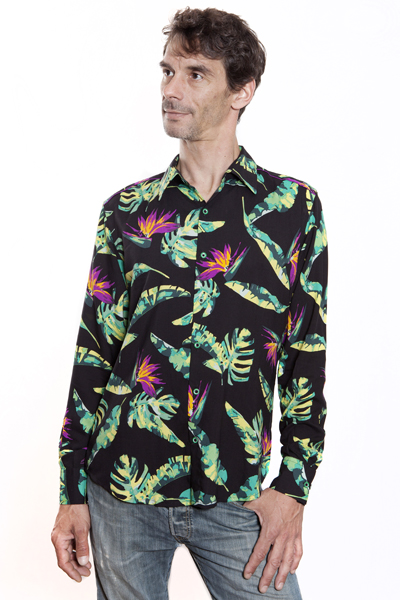 Baïsap - Black hawaiian shirt - Bird-of-paradise - Hawaiian shirts long sleeve for men