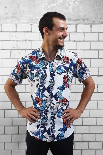 Baïsap - Mens Butterfly shirt, short sleeve - Blue white red print, cotton voile