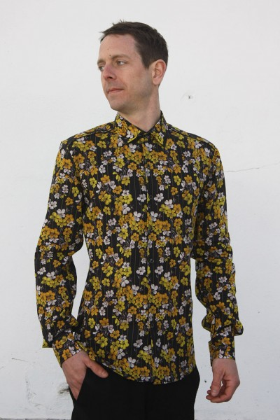 Baïsap - Cherry blossom shirt - Golden Blossom - Yellow floral shirt for men, light cotton