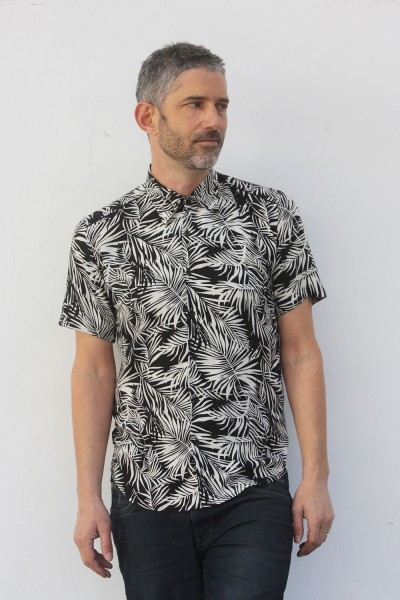 Baïsap - Black and White Palm Tree shirt - Palm leaf shirt for men, viscose made