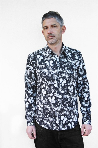 Baïsap - Butterfly shirts for men - Black and white butterfly printed cotton poplin