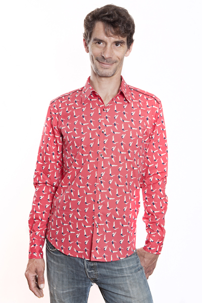 Baïsap - Red dress shirt - Swimmer - Printed button up shirts for men