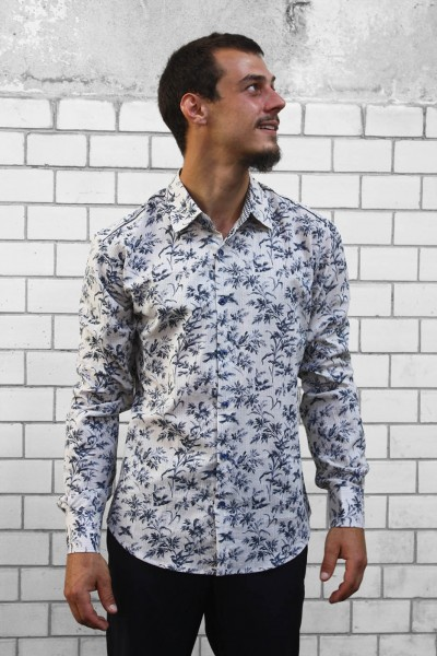 Baïsap - Toile De Jouy shirt - Printed shirts for mens, birds on branches