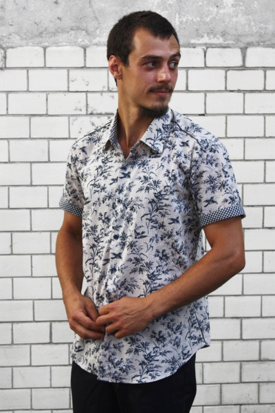 Baïsap - Toile De Jouy shirt, half sleeve - Printed shirts for mens, birds on branches