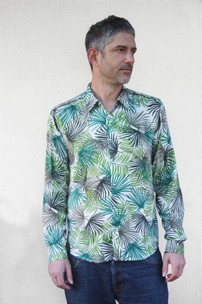 Baïsap - Palm shirt - Green leaves print on white rayon