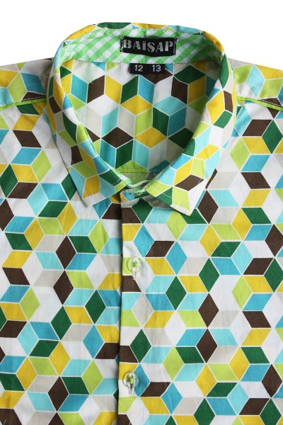 Baïsap - Boys green check shirt, short sleeve - 3D - Boys short sleeve dress shirts, thick cotton