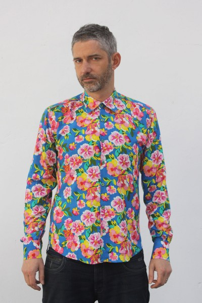Baïsap - Vintage floral shirt mens - 70's Flowers - 70's big flowers pattern on sky blue
