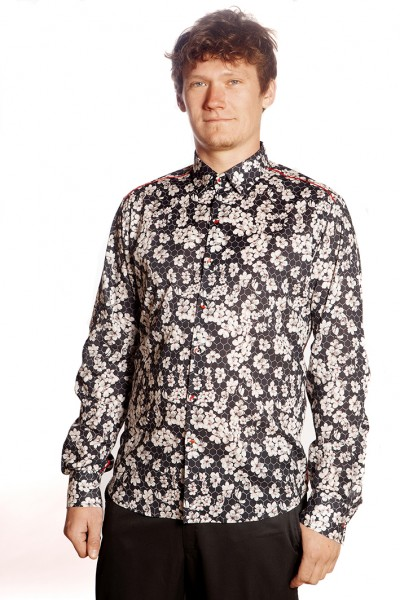 Baïsap - Black shirt with flowers - Alveole - Black and white shirt for men
