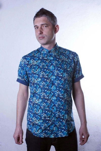 Baïsap - Star shirt, short sleeve - Blue Star - Blue short sleeve shirt for men