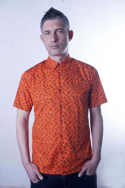 Baïsap - Orange short sleeve shirt - Bolt - Patterned dress shirts, slim fit