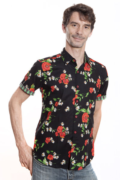 Baïsap - Poppies shirt short sleeve - Red and black shirt for men