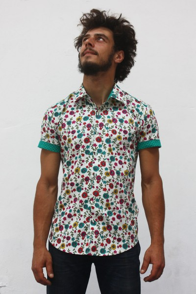 Baïsap - Mens floral print short sleeve shirts - Cornflower - Couloured flowers printed on off white light cotton