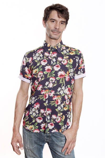 Baïsap - Purple floral shirt - Anemone - Slim fit short sleeve shirt