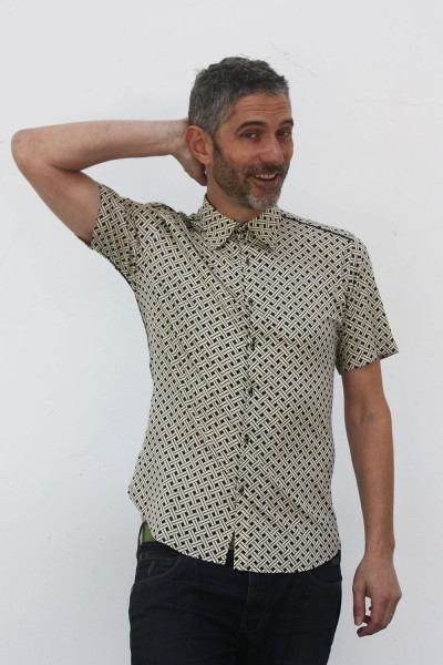 Baïsap - Patterned short sleeve button down - Canework - Black & off white printed viscose shirts