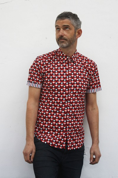Baïsap - Short sleeve pattern shirt - Triangles - Triangle pattern shirt, made out of viscose