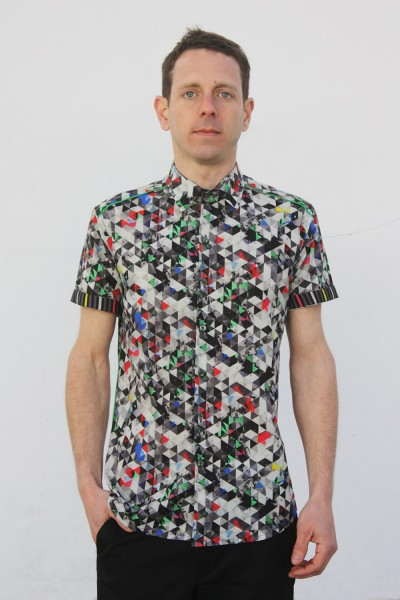Baïsap - Printed short sleeve shirts - Light Triangles - Graphic button up shirts, light cotton