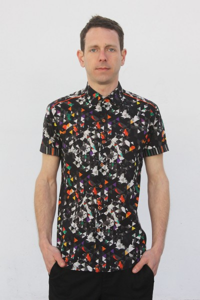 Baïsap - Printed short sleeve shirts - Dark Triangles - Graphic button up shirts, light cotton