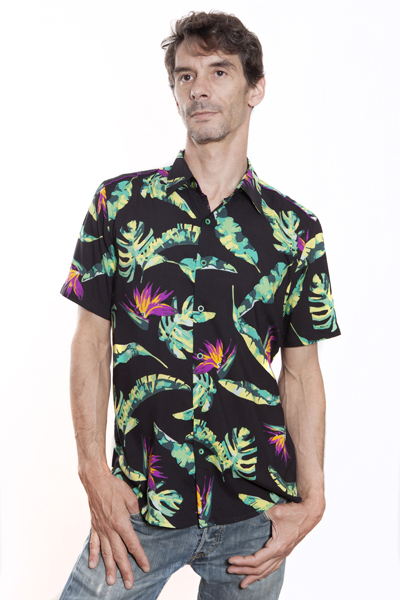 Baïsap - Black hawaiian shirt short sleeve - Bird-of-paradise - Black floral shirt for men