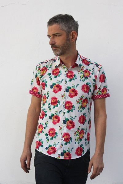Baïsap - Mens pink short sleeve shirt - Roses - Roses print on white light cotton cambric