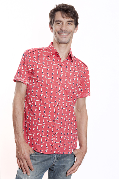 Baïsap - Red short sleeve shirt - Swimmer - Printed button up shirts for men
