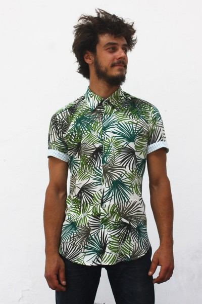 Baïsap - Palm Leaf shirt, short sleeve - Green leaves print on white rayon