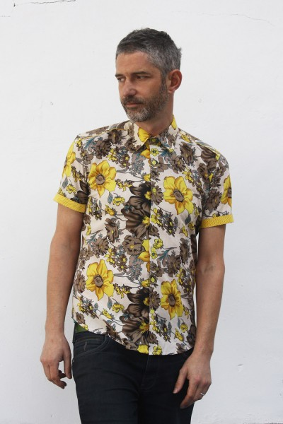 Baïsap - Yellow floral shirt, short sleeve - Buttercup - Vintage floral shirt, light cotton cambric
