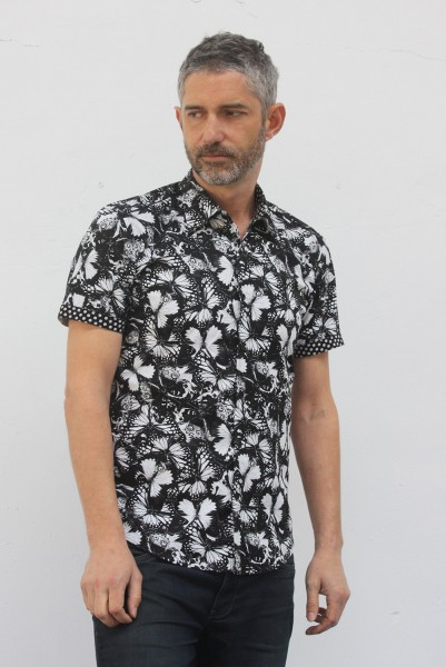 Baïsap - Butterfly shirts for men, short sleeve - Black and white butterfly printed cotton poplin