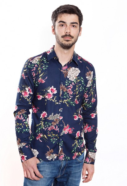 Baïsap - Blue flower shirt - Dahlia - Mens slim fit shirts, viscose made